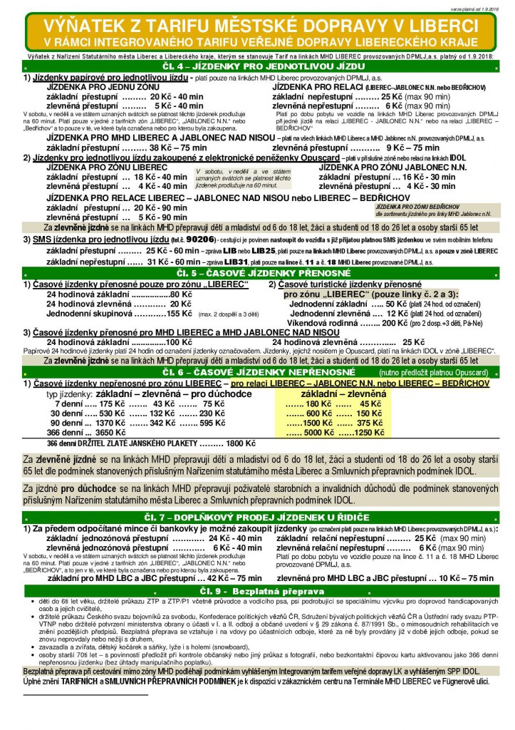 Nové tarify MHD v Liberci