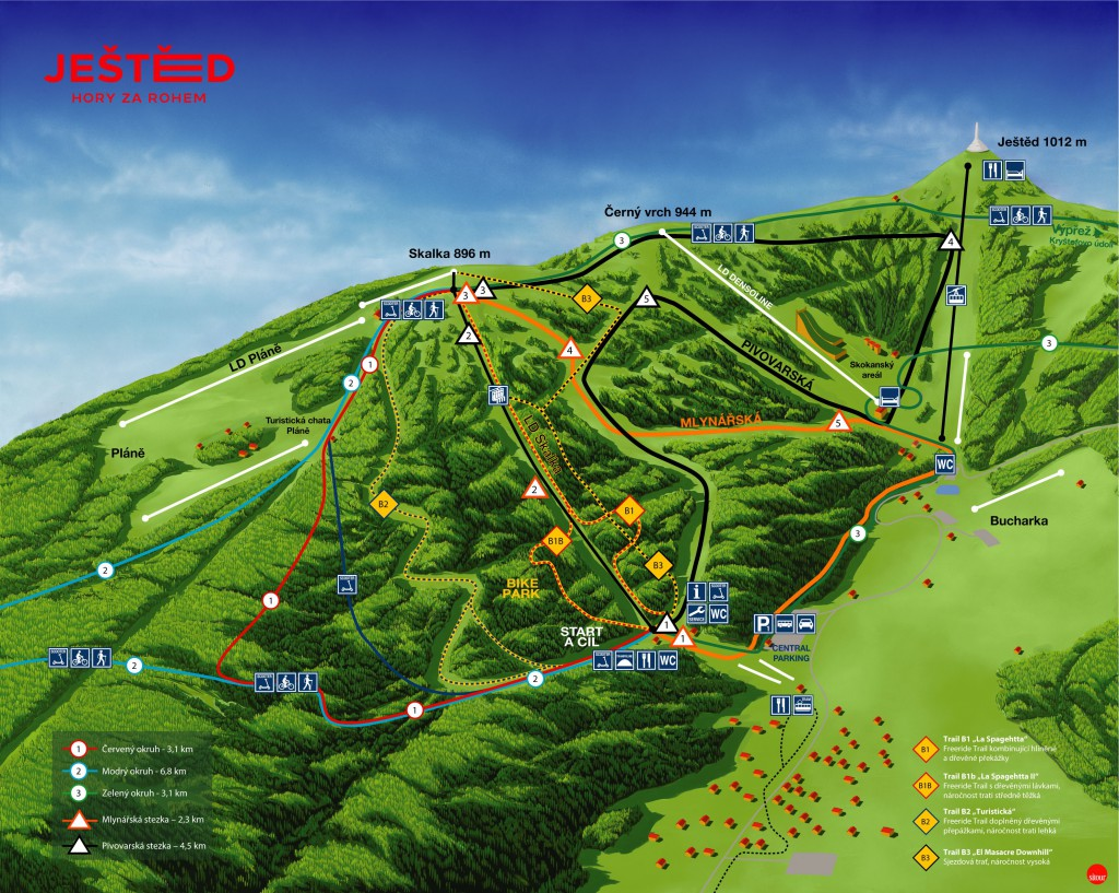 Ještěd - mapa areálu